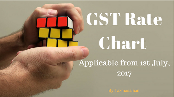 GST Rate chart applicable from 1st July, 2017